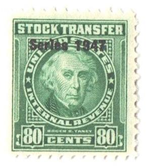 1947 80c Stock Transfer Stamp, bright green, watermark, perf 11