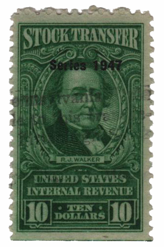 1947 $10 Stock Transfer Stamp, bright green, watermark, perf 11