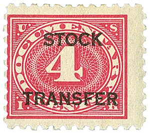 1928 4c Stock Transfer Stamp, carmine rose, horizontal overprint, perf 10