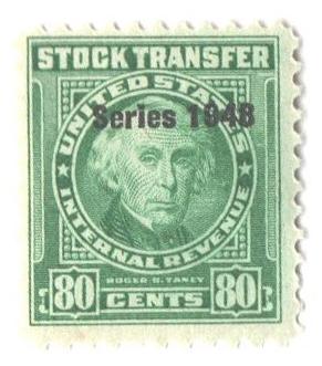 1948 80c Stock Transfer Stamp, bright green, watermark, perf 11