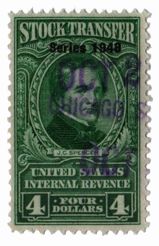 1948 $4 Stock Transfer Stamp, bright green, watermark, perf 11