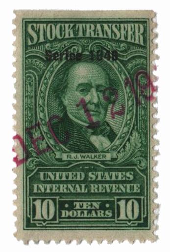 1948 $10 Stock Transfer Stamp, bright green, watermark, perf 11