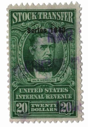 1948 $20 Stock Transfer Stamp, bright green