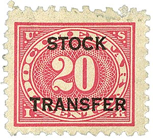 1928 20c Stock Transfer Stamp, carmine rose,horizontal overprint, perf 10