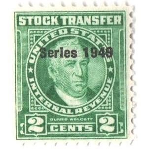 1949 2c Stock Transfer Stamp, bright green, watermark, perf 11