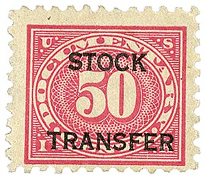 1928 50c Stock Transfer Stamp, carmine rose,horizontal overprint, perf 10