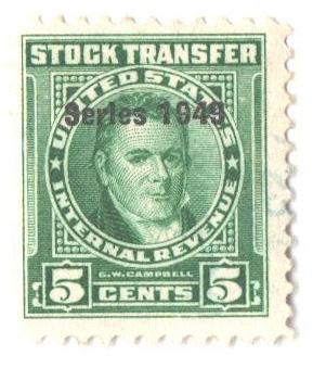 1949 5c Stock Transfer Stamp, bright green, watermark, perf 11