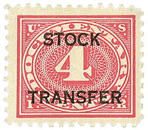 1918-22 4c Stock Transfer Stamp, carmine rose, horizontal overprint, perf 11