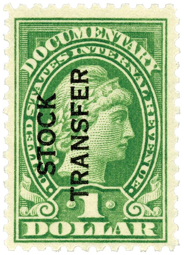 1928 $1 Stock Transfer Stamp, green, vertical overprint, perf 10