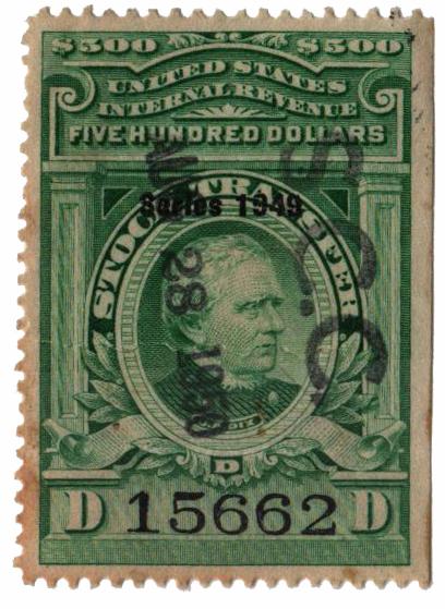 1949 $500 Stock Transfer Stamp, bright green, watermark, perf 12