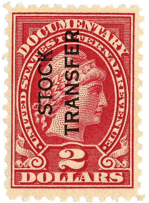 1928 $2 Stock Transfer Stamp, carmine rose,vertical overprint, perf 10