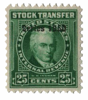 1950 25c Stock Transfer Stamp, bright green, double watermark, perf 11
