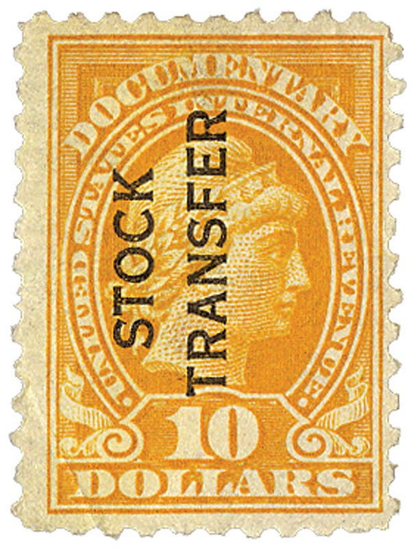 1928 $10 Stock Transfer Stamp, orange, vertical overprint, perf 10