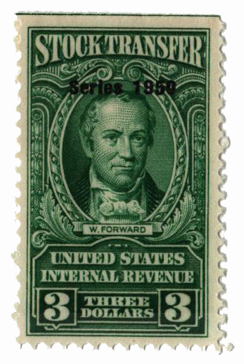 1950 $3.00 Stock Transfer Stamp, bright green, double watermark, perf 11