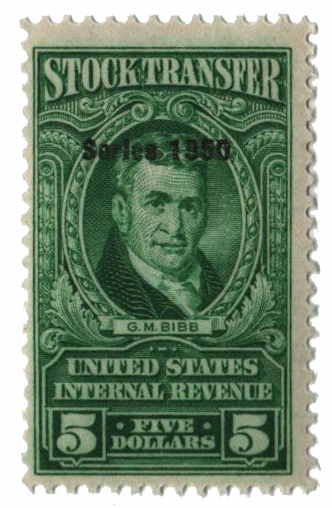1950 $5.00 Stock Transfer Stamp, bright green, double watermark, perf 11