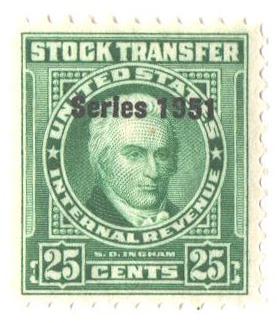 1951 25c Stock Transfer Stamp, bright green, watermark, perf 11