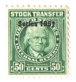 1951 50c Stock Transfer Stamp, bright green, watermark, perf 11
