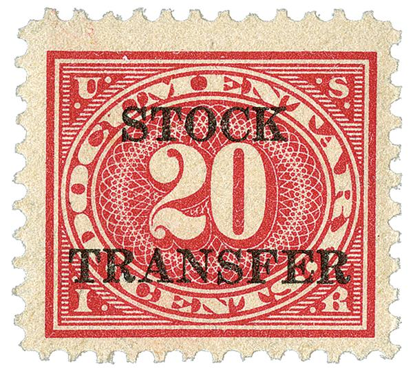 1920 20c Stock Transfer Stamp, carmine rose,horizontal overprint, perf 11