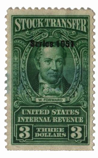 1951 $3Stock Transfer Stamp, bright green, watermark, perf 11