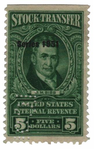 1951 $5 Stock Transfer Stamp, bright green, watermark, perf 11