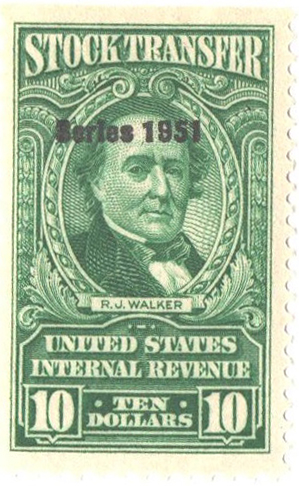 1951 $10 Stock Transfer Stamp, bright green, watermark, perf 11