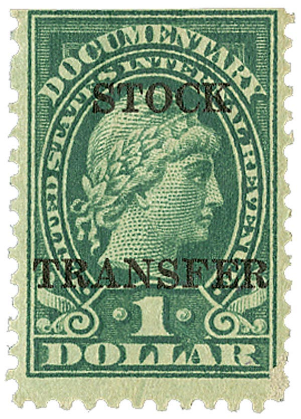 1920 $1 Stock Transfer Stamp, green, horizontal overprint, perf 11