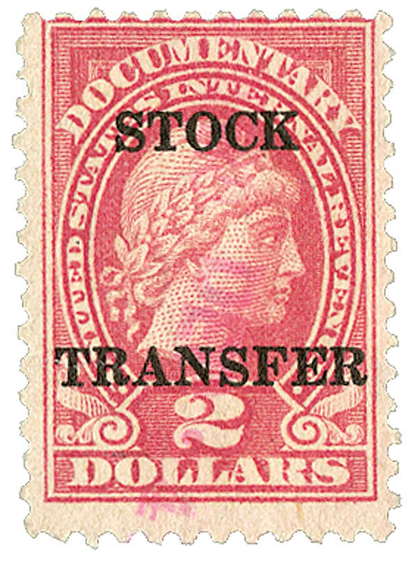 1920 $2 Stock Transfer Stamp, rose, horizontal overprint, perf 11