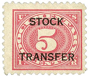 1918-22 5c Stock Transfer Stamp, carmine rose,horizontal overprint,perf 11