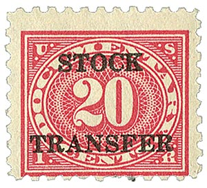 1920 20c Stock Transfer Stamp, carmine rose,horizontal overprint,perf 10