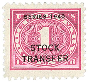 1940 1c Stock Transfer Stamp, rose pink, offset, watermark, perf 11