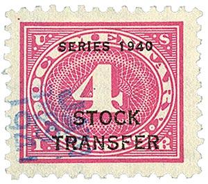 1940 4c Stock Transfer Stamp, rose pink, offset, watermark, perf 11