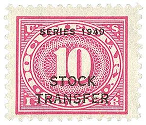 1940 10c Stock Transfer Stamp, rose pink, offset, watermark, perf 11