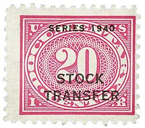 1940 20c Stock Transfer Stamp, rose pink, offset, watermark, perf 11