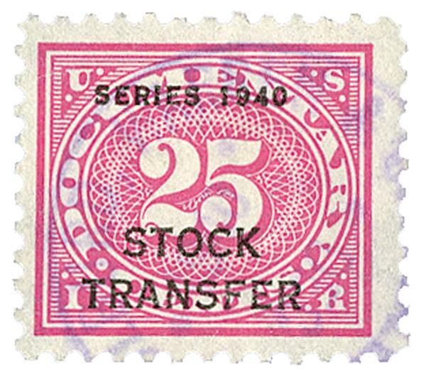 1940 25c Stock Transfer Stamp, rose pink, offset, watermark, perf 11