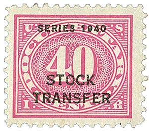 1940 40c Stock Transfer Stamp, rose pink, offset, watermark, perf 11