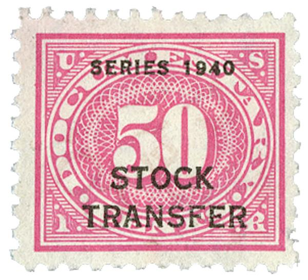 1940 50c Stock Transfer Stamp, rose pink, offset, watermark, perf 11