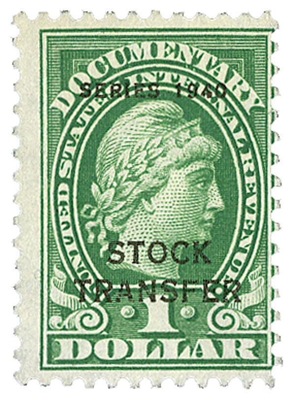 1940 $1 Stock Transfer Stamp, green, engraved, perf 11