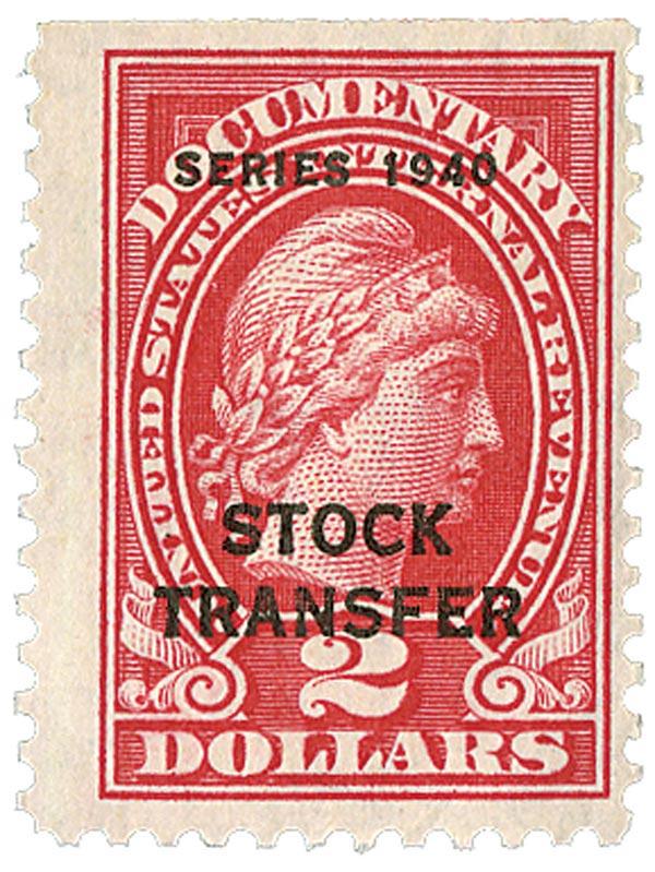1940 $2 Stock Transfer Stamp, rose, engraved, perf 11