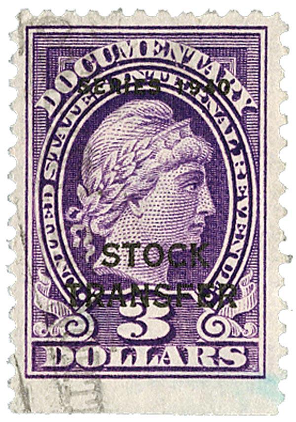 1940 $3 Stock Transfer Stamp, violet, engraved, perf 11