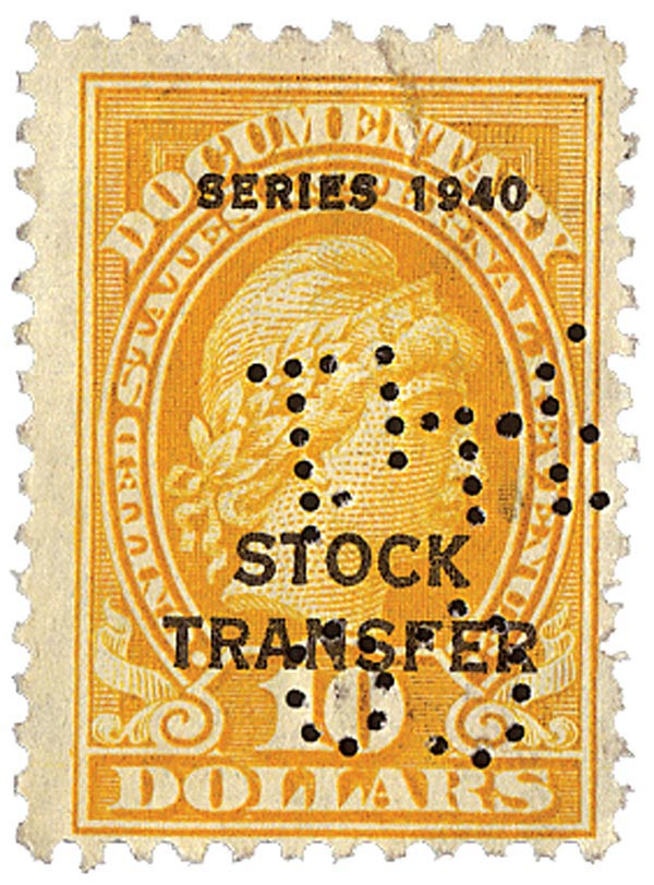 1940 $10 Stock Transfer Stamp, orange, engraved, perf 11