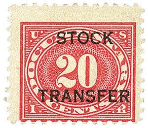 1918-22 20c Stock Transfer Stamp, carmine rose, horizontal overprint, perf 11
