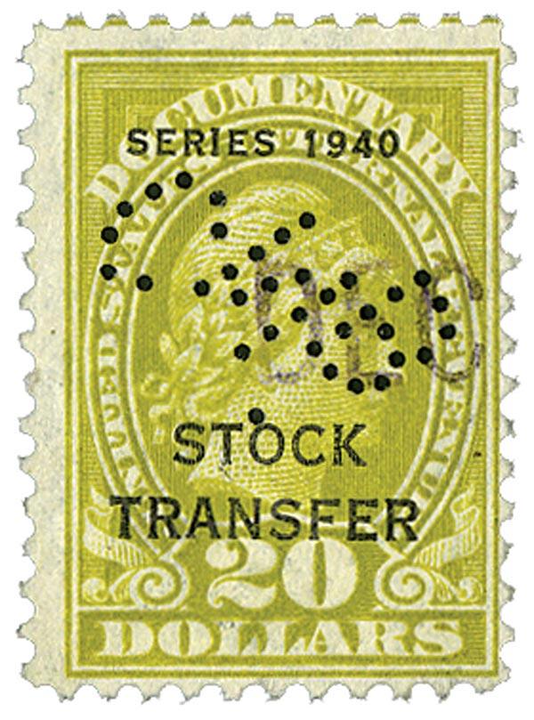 1940 $20 Stock Transfer Stamp, olive bister, engraved, perf 11