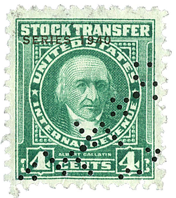 1940 4c Stock Transfer Stamp, bright green, engraved, watermark, perf 11