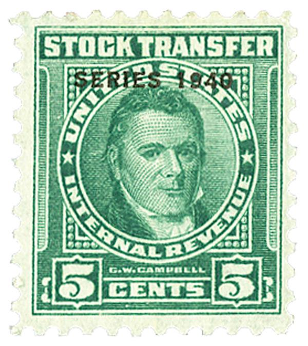 1940 5c Stock Transfer Stamp, bright green, engraved, watermark, perf 11