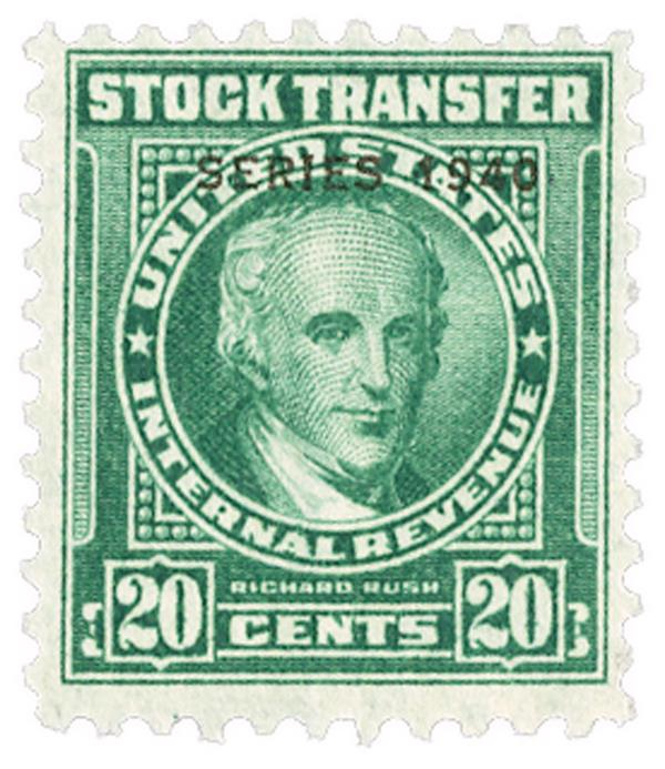 1940 20c Stock Transfer Stamp, bright green, engraved, watermark, perf 11