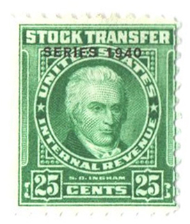 1940 25c Stock Transfer Stamp, bright green, engraved, watermark, perf 11