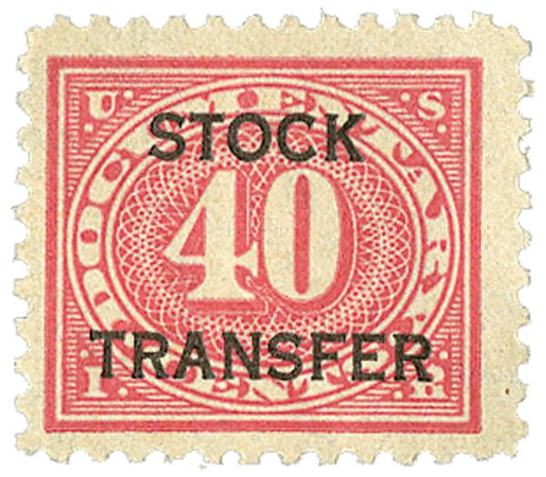 1918-22 40c Stock Transfer Stamp, carmine rose, horizontal overprint, perf 11