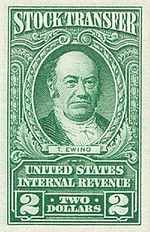 1940 $2 Stock Transfer Stamp, bright green