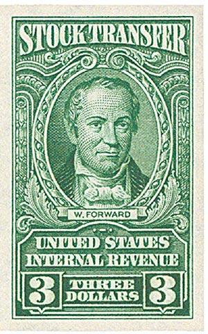 1940 $3 Stock Transfer Stamp, bright green