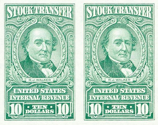 1940 $10 Stock Transfer Stamp, bright green